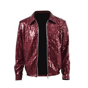 1a749be1318 Bruno Mars Sequin Jacket Man Wine red Jacket Cosplay Costume Show ...