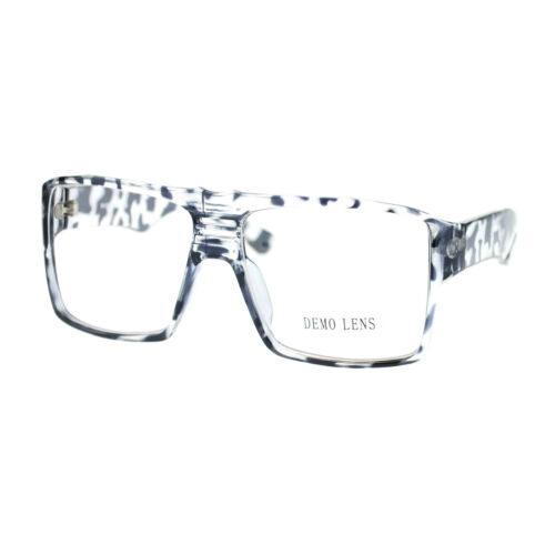 Mens Geek Nerdy Futuristic Sport Rectangular Plastic Frame Optical Eye Glasses
