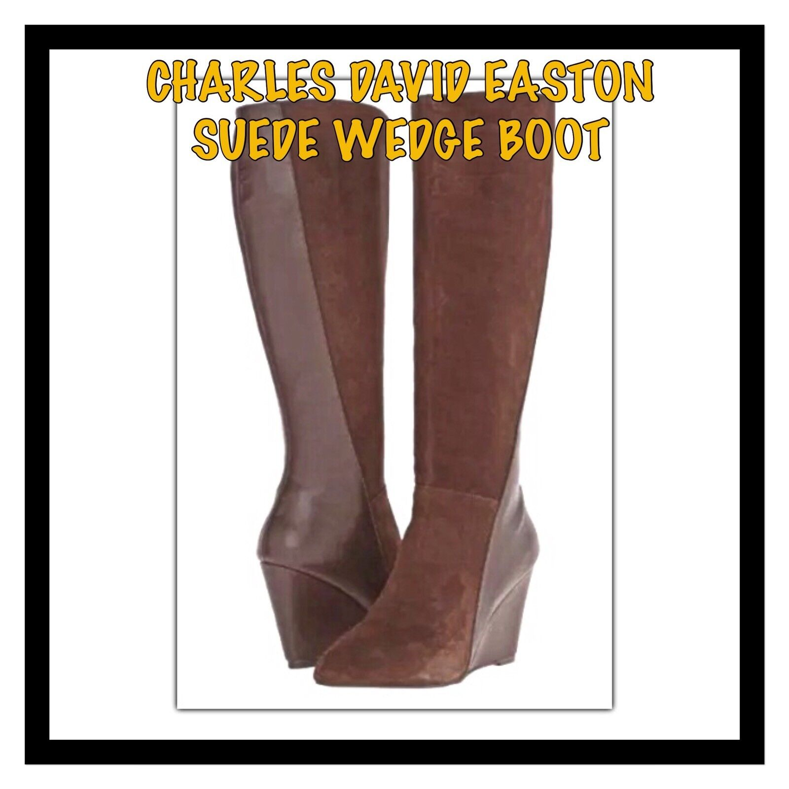 Charles By Charles David Easton marron Suede Leather Wedge démarrage Taille 8 New In Box