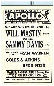Sammy Davis REDD FOXX Apollo Postcard Jazz Vintage Harlem New York City TPC-A