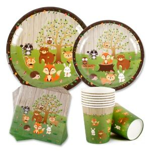 Woodland-Animal-Party-Supplies-Plate-Tableware-Baby-Shower-Birthday-Party-Decor