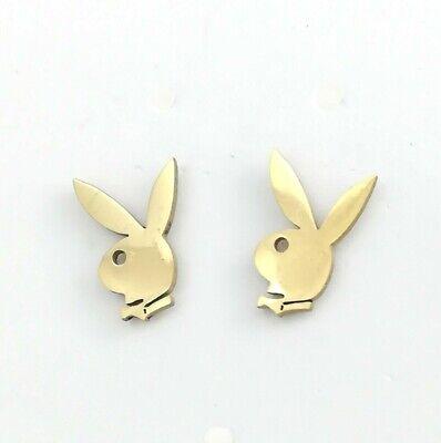 Acciaio Inossidabile Oro Playboy Bunny Animali Coniglio Orecchini Gioielli-mostra Il Titolo Originale