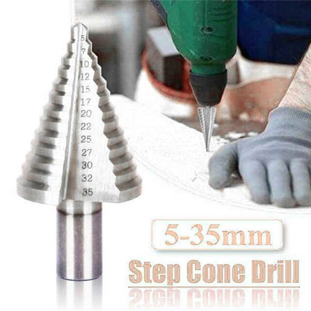 10-45//5-35//4-32mm HSS Step Round Shank Spiral Groove Conical Cone Drill Bit Set