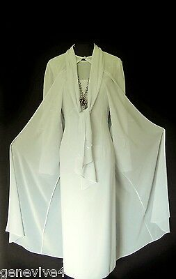 CONDICI Size 20 Blue Grey Ladies Designer Wedding Dress & Floaty Coat Outfit