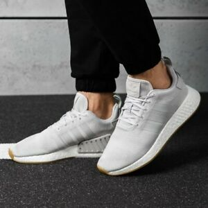 Details about Mens Adidas NMD R2 Grey White Lace Up Sneakers Tennis Shoes Trainers 11 CQ2402