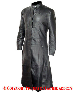 Mens Real BLACK Leather Goth/Matrix Trench Coat Steampunk Gothic Van Helsing(T3)