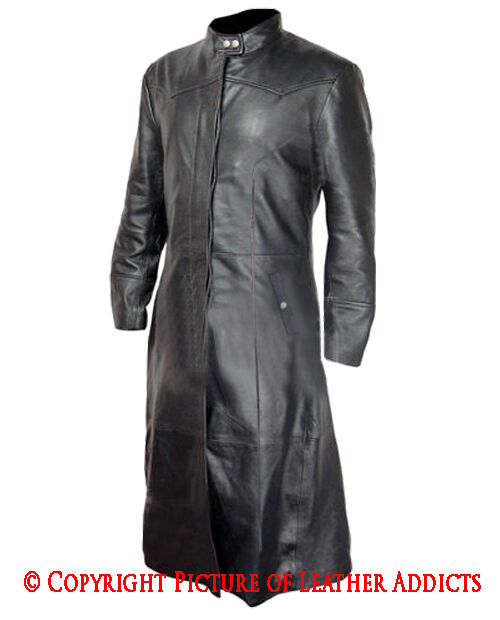 Mens Real BLACK Leather Goth/Matrix Trench Coat Steampunk Gothic Van Helsing
