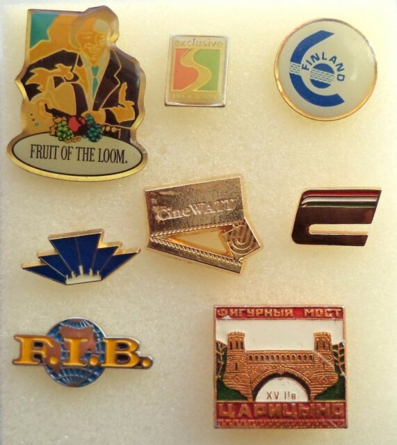 Lot of 8 different Pins, badgen from Finland, Russia, Italy, etc.