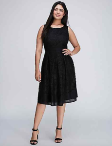 Lane-Bryant-Lace-Fit-Flare-Dress-Ribbed-Trim-14-22-26-28-Black-Evening-1x-3x-4x