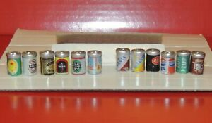 12 METAL CANS (6 soda  and 6 beer cans) multi scale 1:12 and 1:18 scale diorama