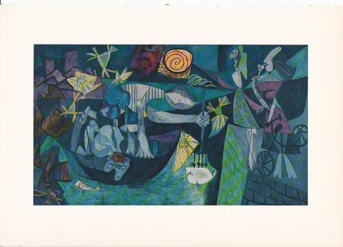 "1955 Vintage /""NIGHT FISHING at ANTIBES/"" PICASSO Color Plate offset Lithograph"
