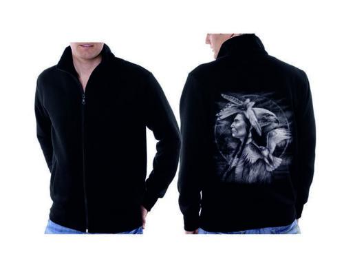 Veste Sweat-Shirt noir Indien Nature /& flackenmotiv modèle Indian Hawk