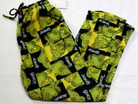 Mens Medium Grinch Pajamas Pants Bottoms Fleece Green Black