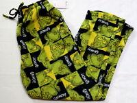 Mens Xl Grinch Pajamas Pants Bottoms Fleece Green Black