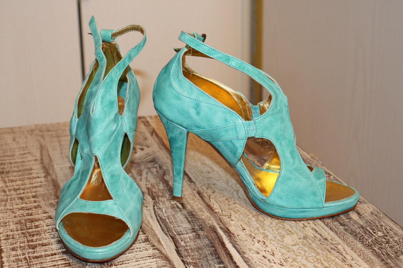 NS004t-w.NEU FASHION 36,5 37 ITALY Pumps echt Leder türkis MARY KYRI high heels Pumps ITALY 08d656