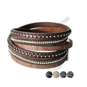 Rhinestone-Leather-Wrap-Punk-Bracelet-Full-Crystal-Multilayer-Bracelets-Bangle