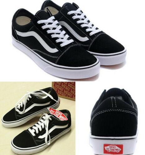 VAN Old Skool Skate Shoes Black//White All Size Classic Canvas Sneakers UK STOCKS