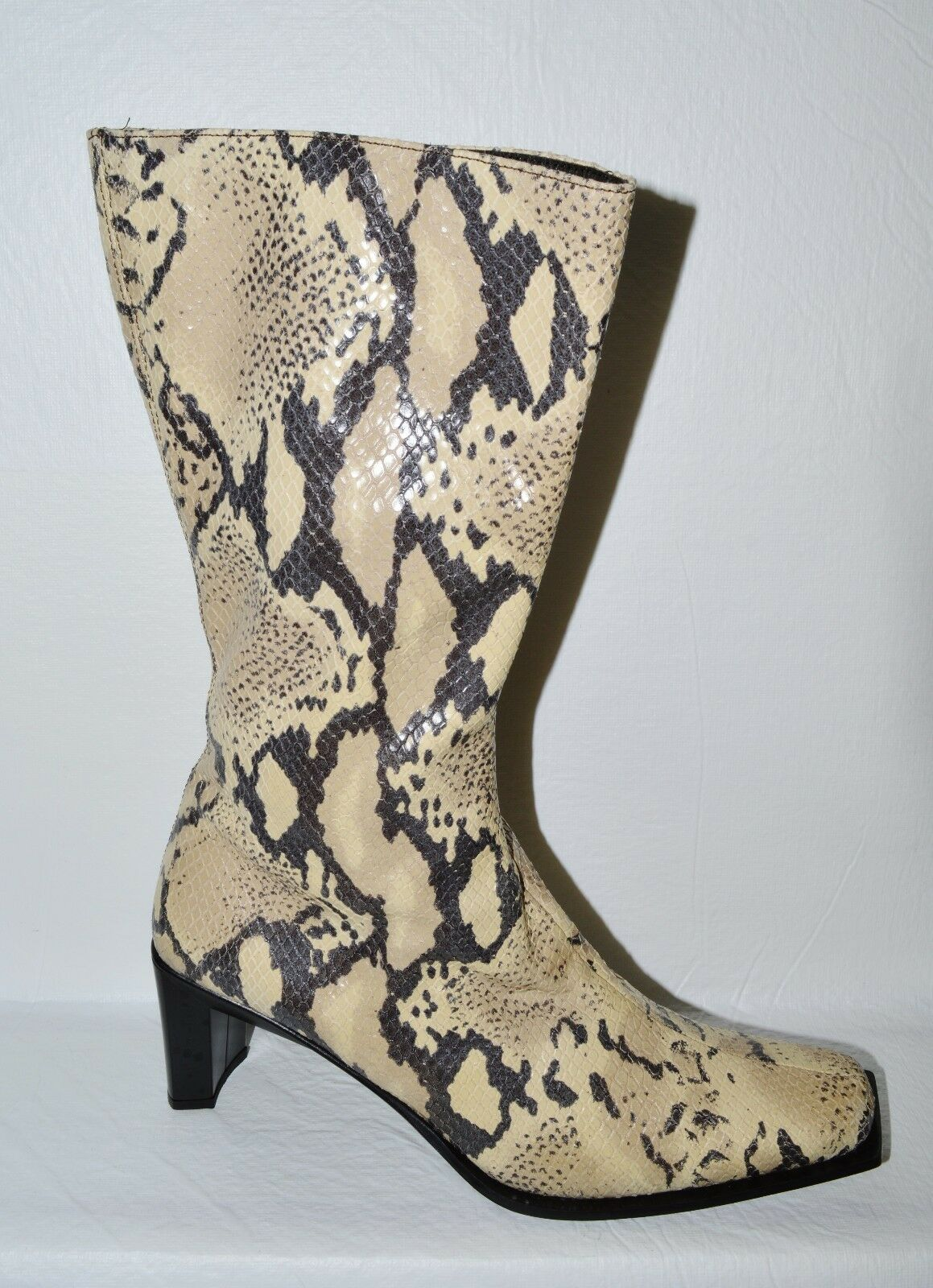 CORDANI SZ 9.5 M 40 BEIGE BLACK SNAKE PRINT LEATHER MID CALF BOOTS BOOTIES ITALY