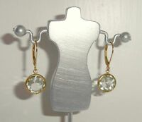 Green Quartz Drop Earrings 10ct Yellow Gold Leverback