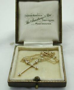 Lovely-Delicate-Antique-15Carat-Gold-Platinum-And-Pearl-Cross-Pendant-amp-Chain