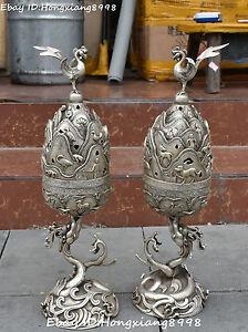24cm  Chinese Silver Phoenix Dragon Kylin Beast Incense Burner Censer Incensory