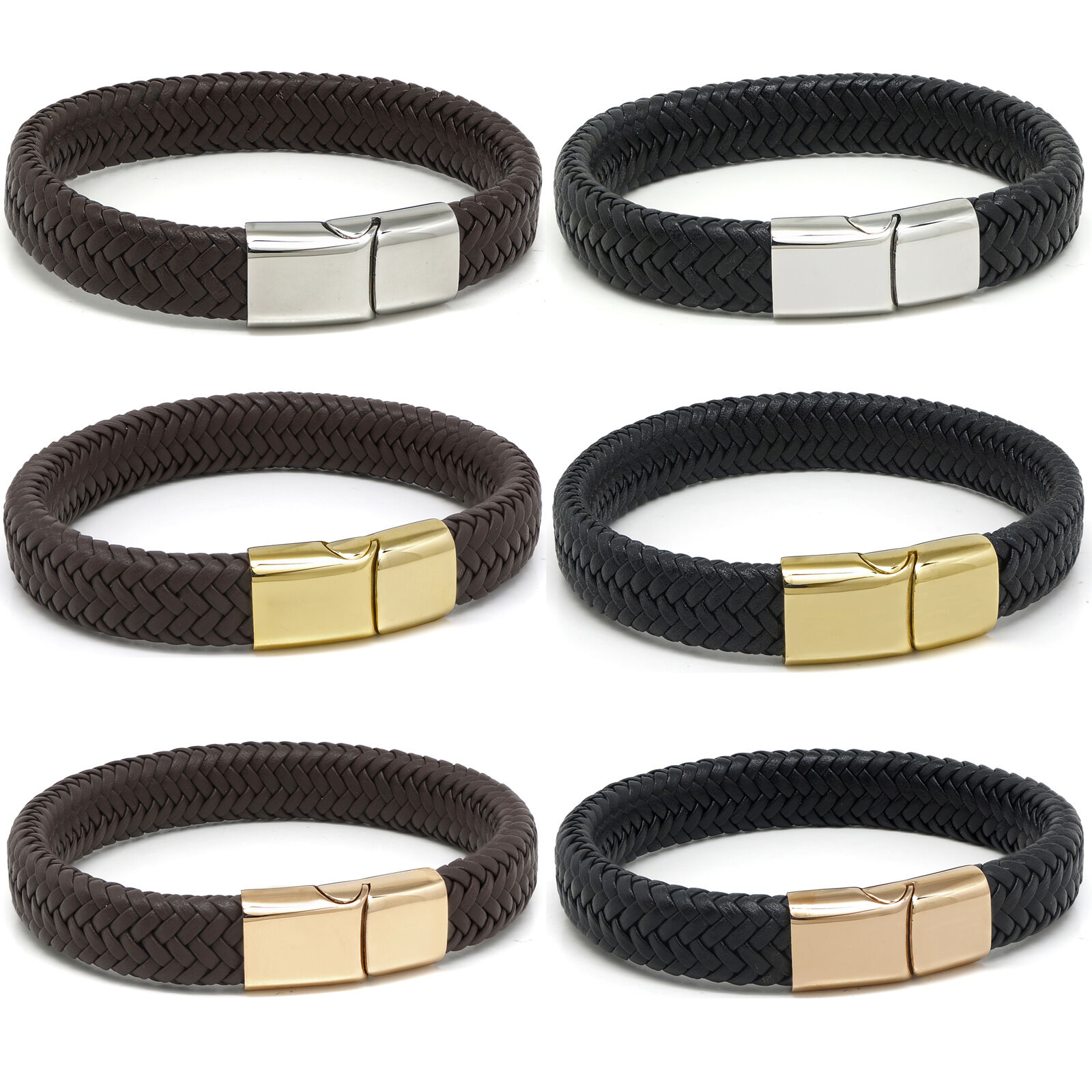 Leather Bracelet or Necklace Braided Steel Clasp Triple Wrap TOP QUALITY A141 Wristbands