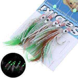 5Pcs 1/0# Octopus Rigs Glow in the Dark Baits Fishing Lures Catch Hooks Sea Bass