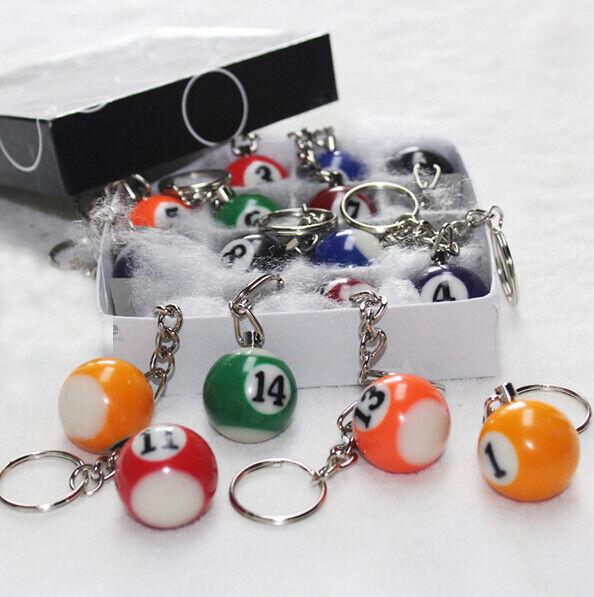 1Pc Pool Keyring Billiard Ball Keychain Key Ring 2.5cm Color Random Style Random
