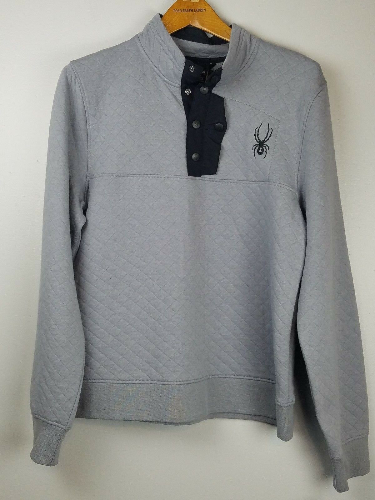 Men's Spyder Quilted Sweater Button Pullover Fleece Sweater Quilted Ski Grau 149 MSRP e065ae