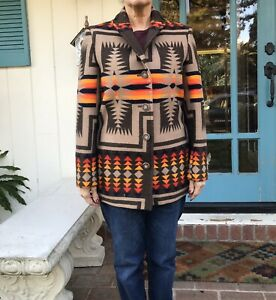 Pendleton-High-Grade-Western-Wear-Wool-Blanket-Jacket-Navajo-Coat-Men-S-Women-M