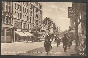 Postcard-Cardiff-Glamorgan-Wales-view-of-Queen-Street-and-Dominion-Buildings