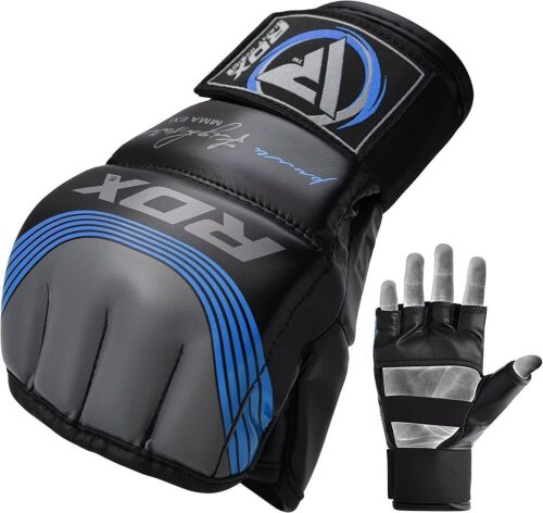 RDX Leather Tech MMA Grappling Gloves Fight Boxing Punch Bag Training Kick B