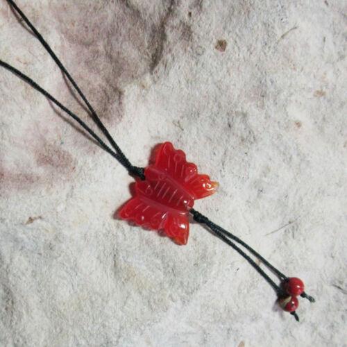 Genuine Cornalina Y ROJO JASPE Tallado Mariposa Colgante Collar Cuerda Larga /&