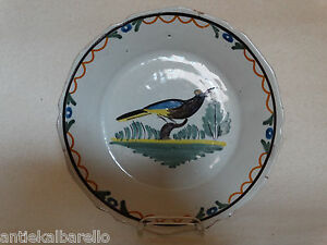 French-Nevers-Delftware-bird-plate-18th-century