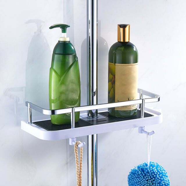 Bathroom Pole Shelf Shower Storage Caddy Rack Organiser Tray Holder ...
