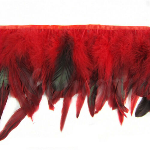 1M Rooster Hackle Coque Feather Fringe Craft Trim Sewing Costume Millinery