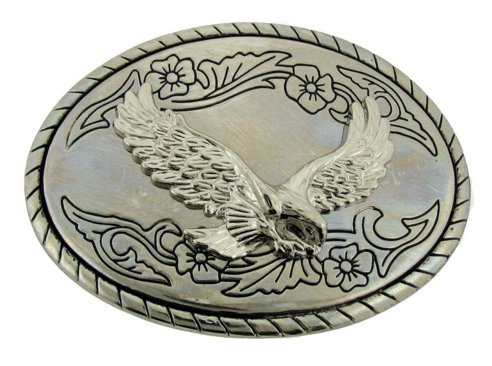 Weißkopfseeadler Gürtelschnalle American Patriotisch Silber Metal Rodeo Western