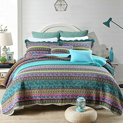 Striped Jacquard Style Cotton 3 Piece Patchwork Bedspread Quilt Sets Queen Size