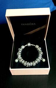 Details about PANDORA Moments Pavé Silver Bracelet 18cm including PANDORA  charms