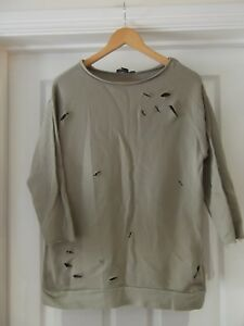ATMOSPHERE-Jumper-Taupe-Khaki-Brown-Distressed-Ripped-Oversized-Look-UK-Size-6