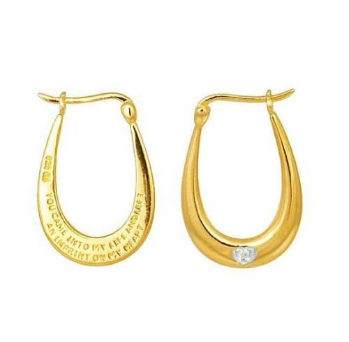 Christmas gift idea 9ct Gold Plated 925 Silver CREOLE OVAL MESSAGE EARRINGS