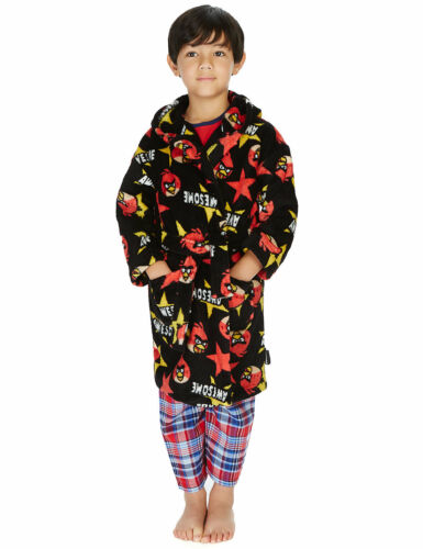 M/&S BOYS//KIDS ANGRY BIRDS HOODED DRESSING GOWN ROBE AGE 3-4 5-6 BNWT