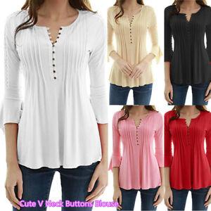 Spring-Women-V-Neck-Cotton-Shirt-3-4-Flare-Sleeve-Button-Blouse-Slim-Top
