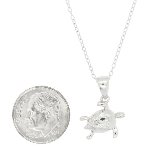 STELRING SILVER DECORATED SMALL BABY SEA TURTLE NECKLACE