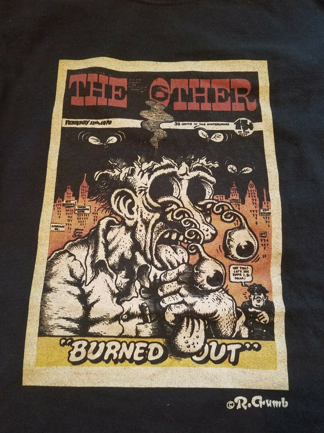Vintage R. Crumb Burned Out Party Supreme Fritz Cat Large T-shirt 90s Comic