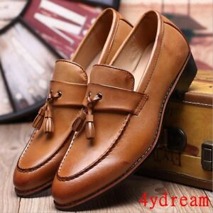 men's round toe brogue loafer shoes formal dress business