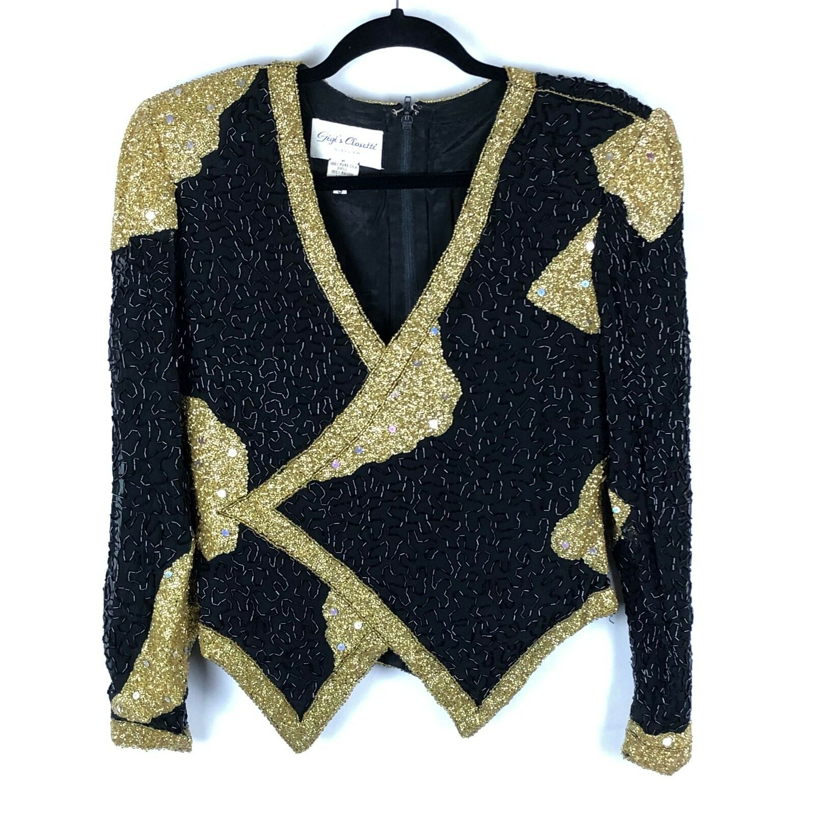 Vintage 80s Beaded Top Silk schwarz Gold Long Sleeve Glam Trophy Plunging Neckline