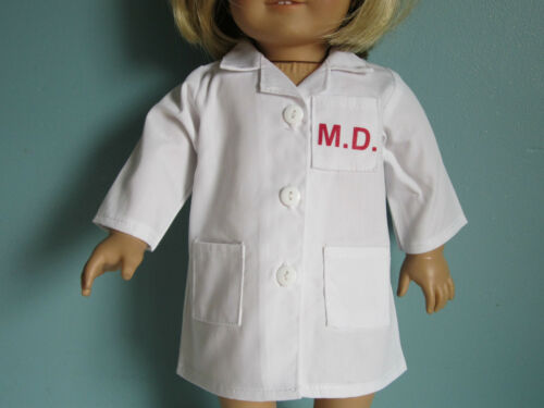 WHITE MD LAB SCRUB COAT Great for Doctor Nurse Outfits fits American Girl