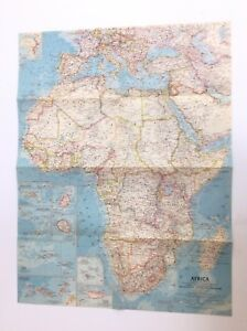 1960 vintage national geographic map of africa 19 x 25 ebay image is loading 1960 vintage national geographic map of africa 19 gumiabroncs Gallery