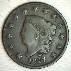 1827-Coronet-Large-Cent-US-Copper-Type-Coin-Genuine-Penny-Very-Good-M39-VG